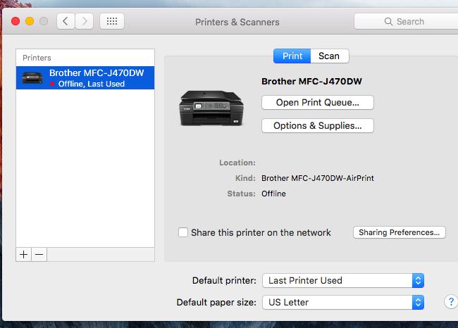 brother mfc printer offline mac