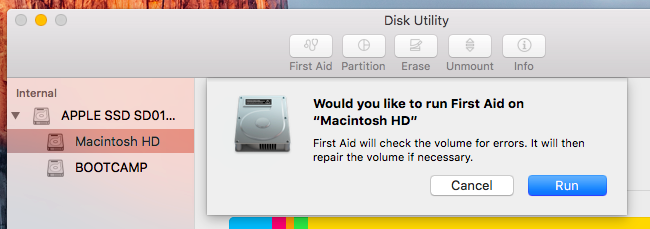 cant run first aid on macintosh hd