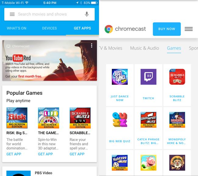 iphone chromecast games