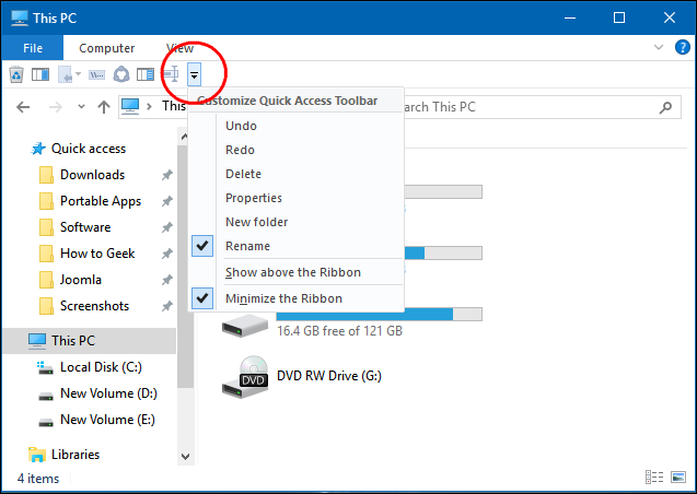 How to Customize File Explorer\u0027s Quick Access Toolbar in Windows 10