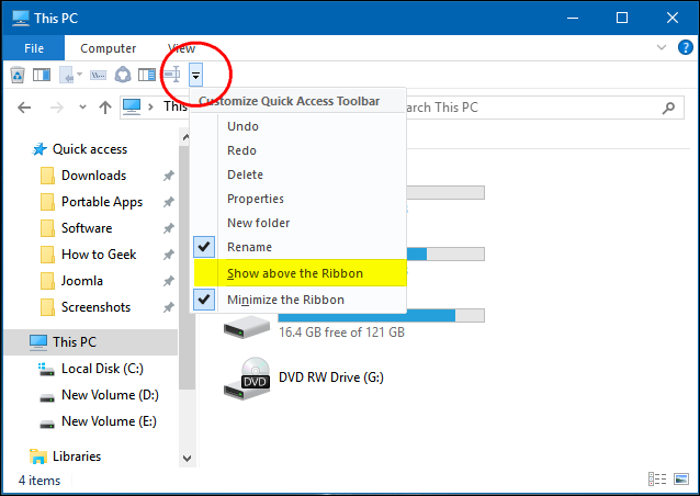 How to Customize File Explorer's Quick Access Toolbar in