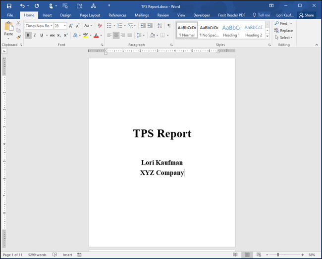 cover page in word