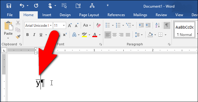 A Letter With A Dash On Top In Word