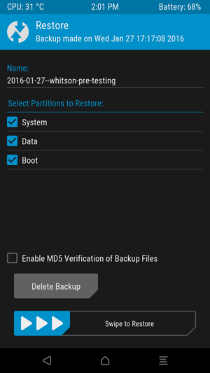 how to add a backup to your android phonme