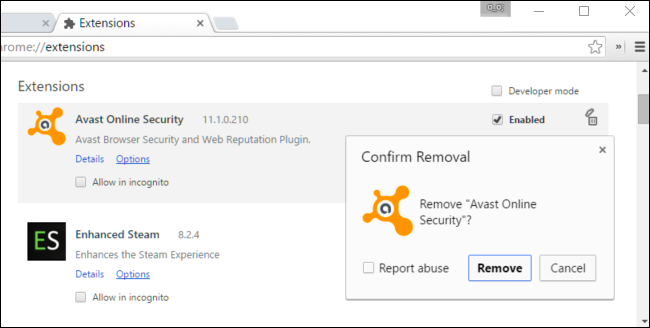 disable avast online security
