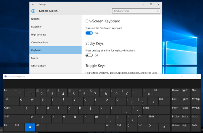 how to open touch keyboard win 10