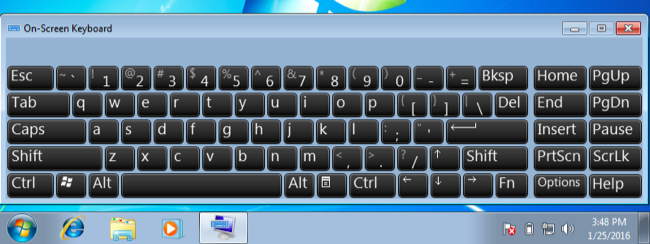 display keystrokes on screen windows 7