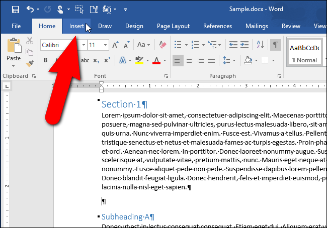 how to insert the contents of one word document into another