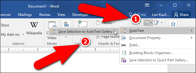 How To Insert An Existing Building Block In Word