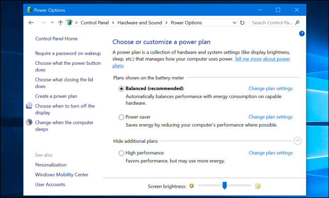 Power plan settings in the Control Panel.