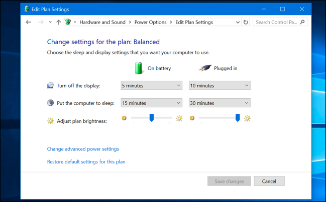 Editing power plan settings in Windows 10's Control Panel.