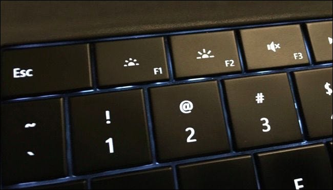 Brightness keys in the top row on a Microsoft Surface keyboard.