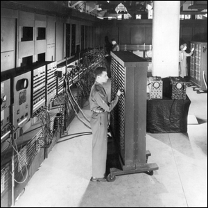 Black and white photo depicting the ENIAC computer.