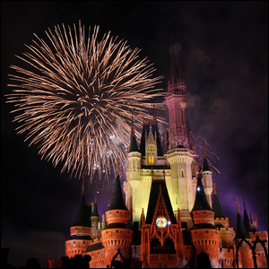 Fireworks over the Magic Kingdom at Walt Disney World in Florida