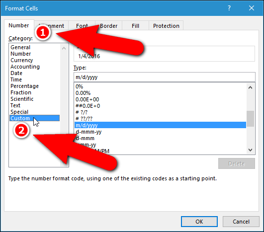 how to change date format in selected cells