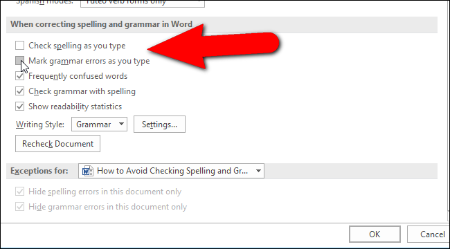 turn spell check off in ms word 2016