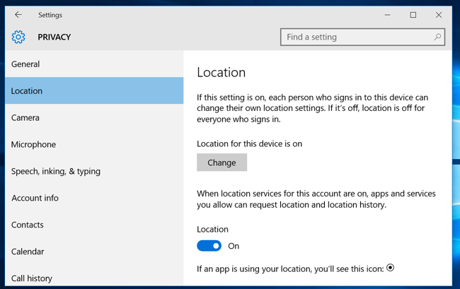 29a104b639 Windows desktop applications that use other methods to access your location  can continue to do so.