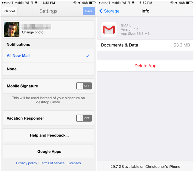 remove gmail from iphone mail app
