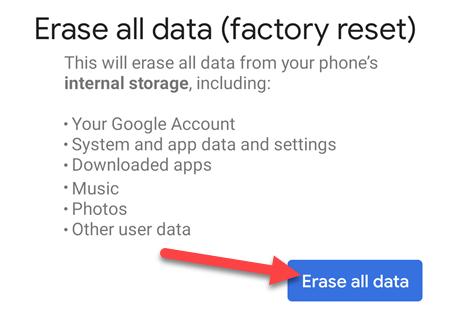 """Πατήστε """"Διαγραφή όλων των δεδομένων"""" για να συνεχίσετε."""
