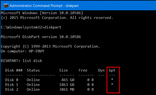 windows 10 boot disk mbr or gpt