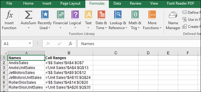 How to See All of the Named Cell Ranges in an Excel Workbook