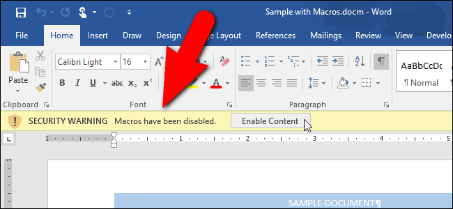 How to Disable the Security Warning Message Bar in Microsoft Office