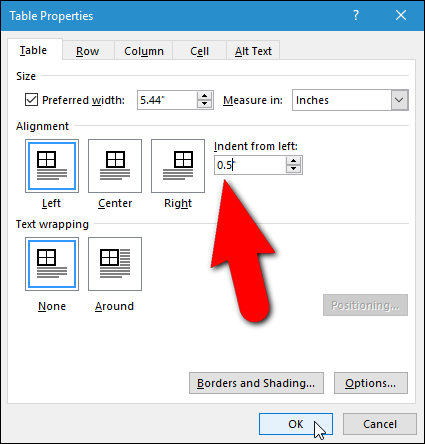 How to indent an entire table in microsoft word for Table th margin