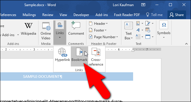 how to add bookmars in word