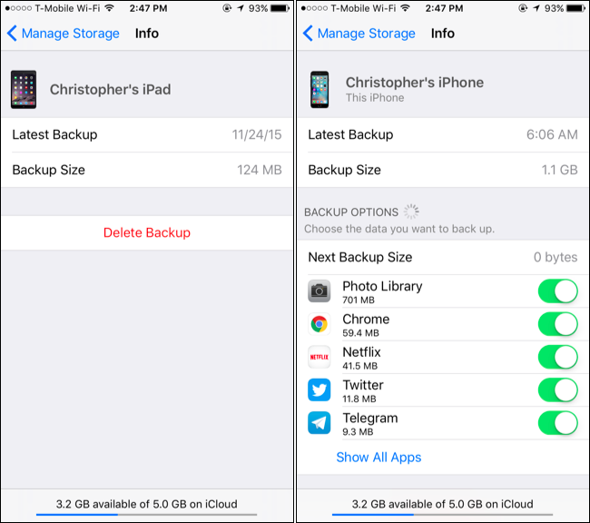 How to save space in your icloud backup and avoid paying extra the storage wont be freed immediately but the next backup your device performs will be smaller ccuart Image collections