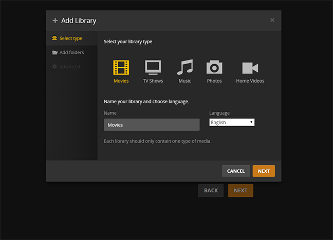 Plex Add library 2