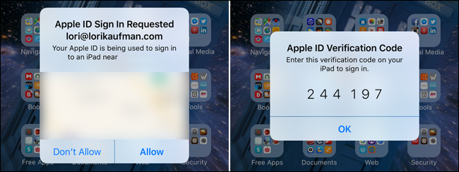 An example of Apple's two-step authentication process.