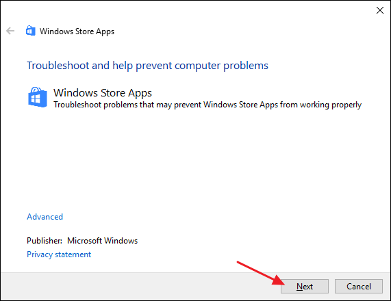 Repair the windows store with the windows store apps troubleshooter