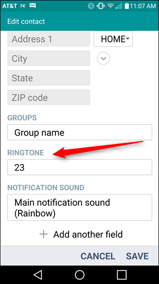 assign ringtone android