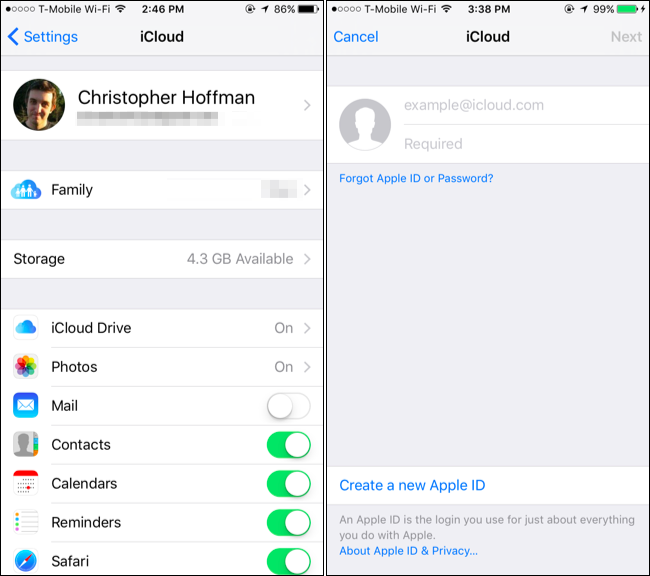 how to change icloud account on iphone 8
