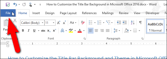 How to Customize the Title Bar Theme in Microsoft Office 2016