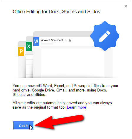 how to work with microsoft office files in google drive