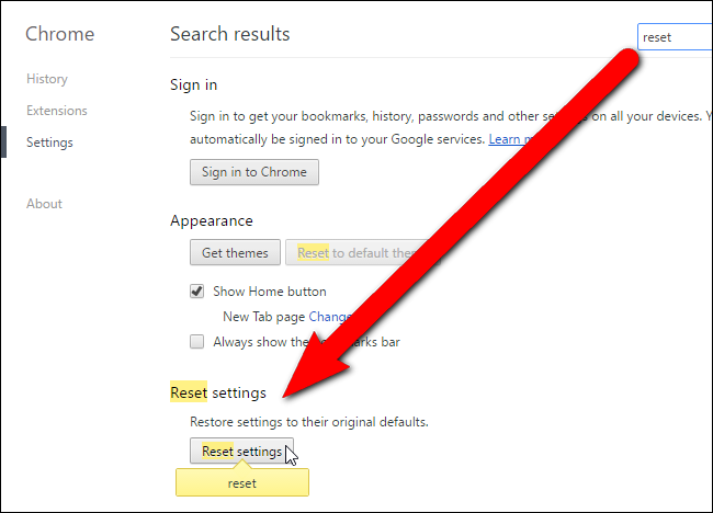 Reset if you re sure you want to reset your chrome settings