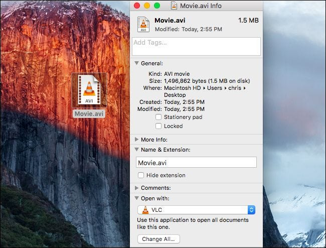 Changing the application that opens a file type on Mac