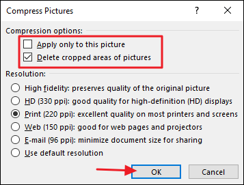 Depending On The Number Of Pictures In Your Document Word May Take A Few Moments To Compress Them All When Its Finished Save And Check