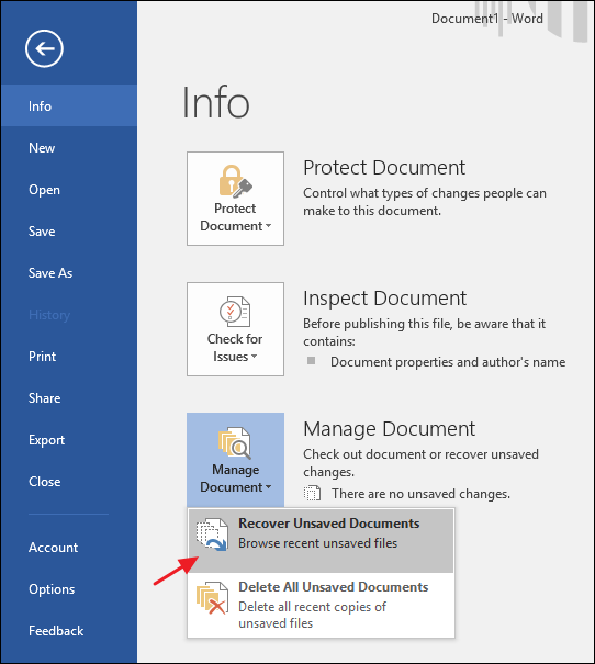microsoft word recover unsaved document 2016