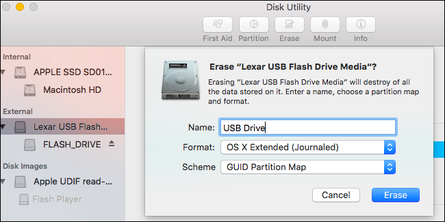 install mac os from usb disk utility