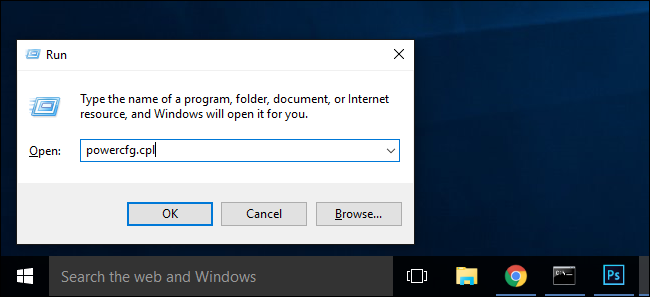 It's far more efficient in both versions of Windows, however, to simply  press WIN+R to pull up the run dialog box, type powercfg.cpl, and press  enter.