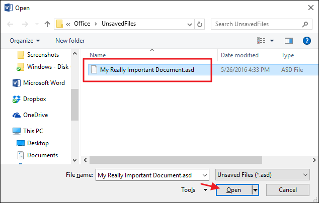 recover unsaved word files