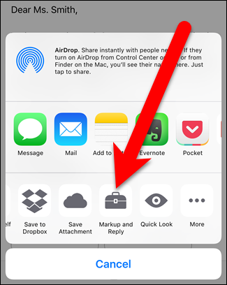 """Tap the """"Markup and Reply"""" button from the iPhone or iPad's share menu"""