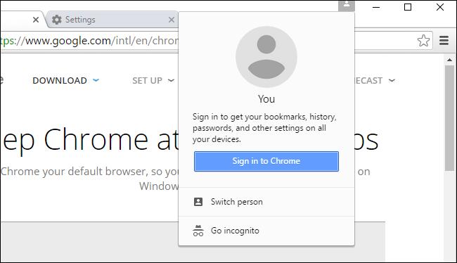 google chrome sign in