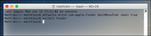 """How to """"Quit"""" the Finder in OS X"""