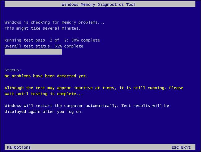 Windows Memory Diagnostics Tool scanning RAM