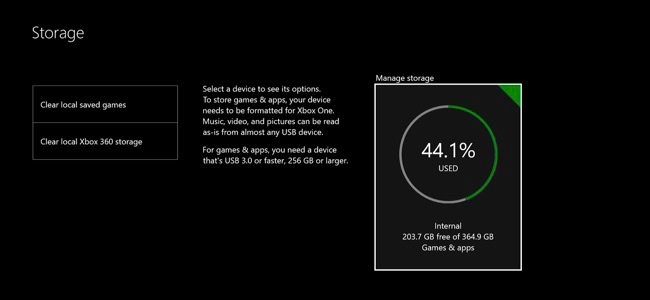 Image result for xbox storage screen