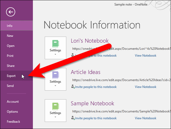 How to Export Your OneNote 2016 Notes to Different File Formats