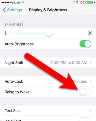 how to turn on raise to wake on iphone 6